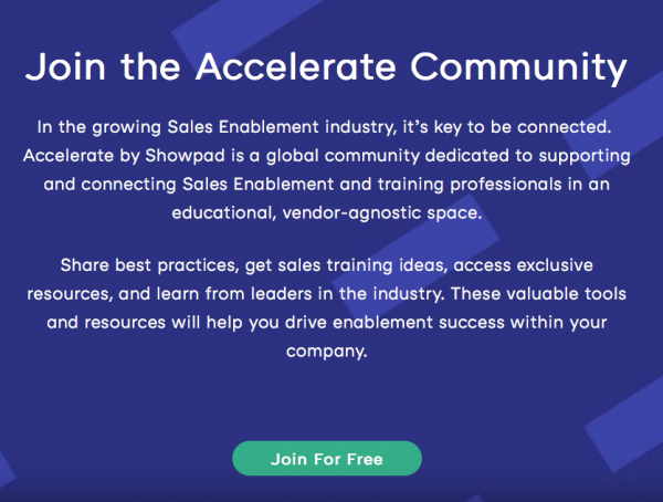 Accelerate by Showpad – Homepage, About, and FAQ copy